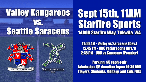 Valley Kangaroos vs Seattle Saracens @ Starfire Sports | Portland | Oregon | United States