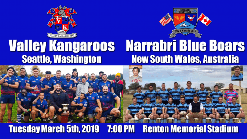 Valley Kangaroos vs Narrabri Blue Boars @ Renton Memorial Stadium | Renton | Washington | United States